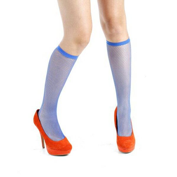 『摩達客』英國進口義大利製【Pamela Mann】藍色細格紋及膝高筒襪