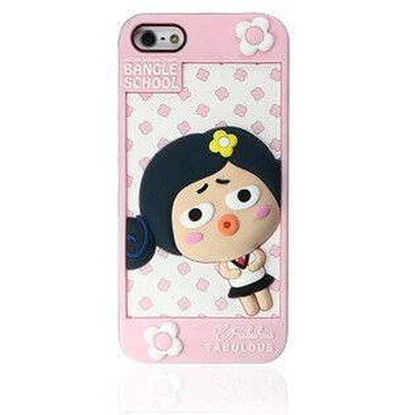 『摩達客』iPhone5手機套韓國Fabulous進口【Bangle School】可愛Judy粉紅白3D矽膠保護套