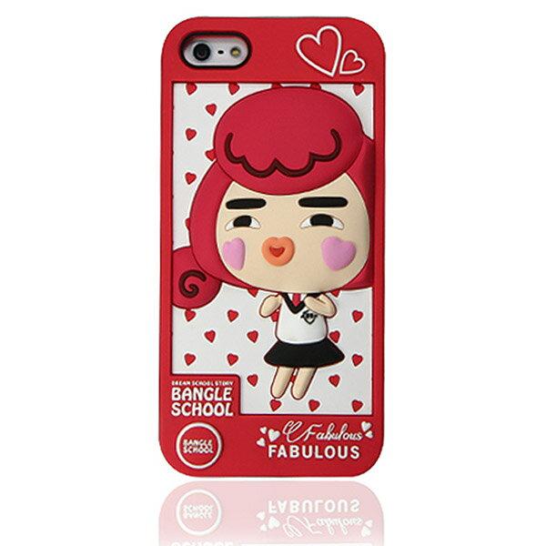 『摩達客』iPhone5 手機套韓國Fabulous進口【Bangle School】愛心Yola紅色3D矽膠保護套