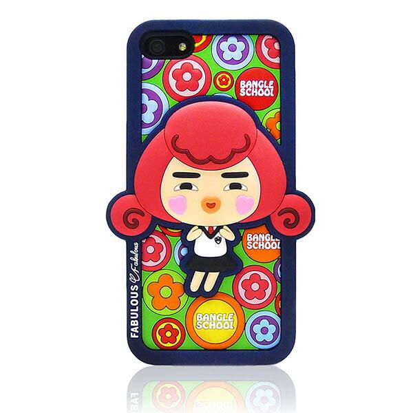 『摩達客』iPhone5手機套韓國Fabulous進口【Bangle School】小花Yola深藍3D矽膠保護套
