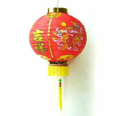 『農曆新年限定』農曆春節元宵 10吋恭喜發財吉祥如意紅綢布燈籠(一組兩入)