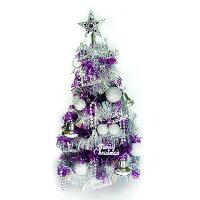 聖誕節禮物推薦台灣製繽紛2呎(60cm)紫色金箔聖誕樹(+銀色系裝飾)(不含燈)(本島免運費)