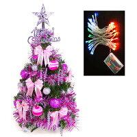 聖誕節禮物推薦台灣製可愛2呎/2尺(60cm)經典裝飾聖誕樹(銀紫色系)+LED50燈插電式彩色燈串(本島免運費)YS-GT23004