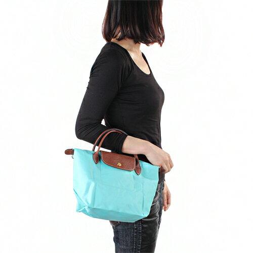 [短柄S號]國外Outlet代購正品 法國巴黎 Longchamp [1621-S號] 短柄 購物袋防水尼龍手提肩背水餃包 湖綠色 3