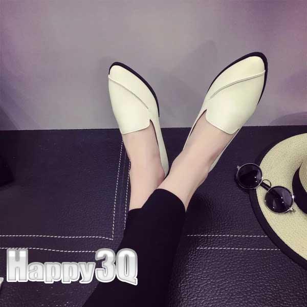 簡單時尚條紋淺口低跟娃娃鞋-黑/白/灰35-39【AAA0185】