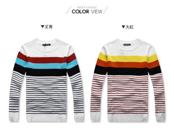 ☆BOY-2☆【OE86025】多色條紋拼接針織毛衣 1