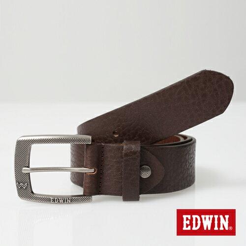【9折優惠↘】EDWIN 細點壓紋帶頭皮帶-男款 深咖啡