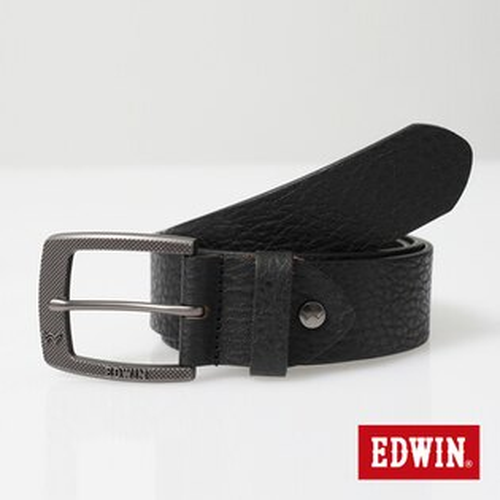 【9折優惠↘】EDWIN 細點壓紋帶頭皮帶-男款 黑色