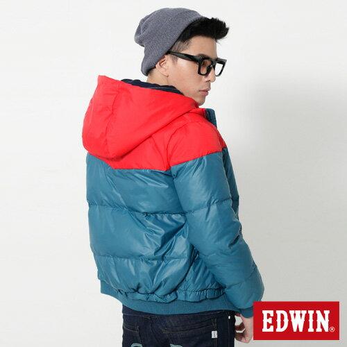 【網路限定款。5折優惠↘】EDWIN 雙色剪接連帽 羽絨外套-男-紅色 1