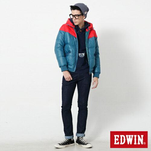 【網路限定款。5折優惠↘】EDWIN 雙色剪接連帽 羽絨外套-男-紅色 2
