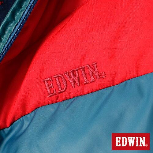 【網路限定款。5折優惠↘】EDWIN 雙色剪接連帽 羽絨外套-男-紅色 4