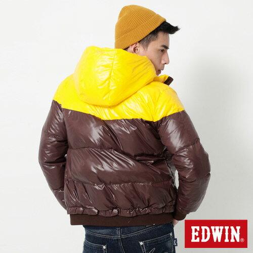 【網路限定款。5折優惠↘】EDWIN 雙色剪接連帽 羽絨外套-男-黃色 1