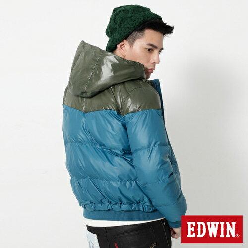【網路限定款。5折優惠↘】EDWIN 雙色剪接連帽 羽絨外套-男-苔綠 1