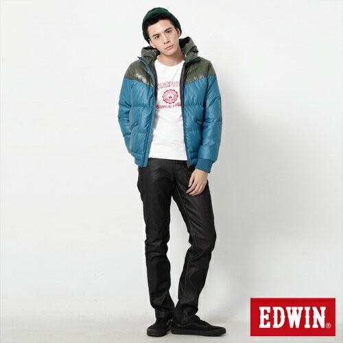 【網路限定款。5折優惠↘】EDWIN 雙色剪接連帽 羽絨外套-男-苔綠 2