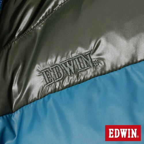 【網路限定款。5折優惠↘】EDWIN 雙色剪接連帽 羽絨外套-男-苔綠 4