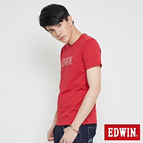 【網路限定款。9折優惠↘】EDWIN 幾何LOGO運動風 短袖T恤-男款 紅色【單筆899結帳輸入優惠券代碼ShoppingFestival-2。現折100元】 2