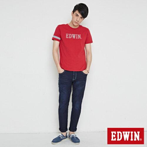 【網路限定款。9折優惠↘】EDWIN 幾何LOGO運動風 短袖T恤-男款 紅色【單筆899結帳輸入優惠券代碼ShoppingFestival-2。現折100元】 3