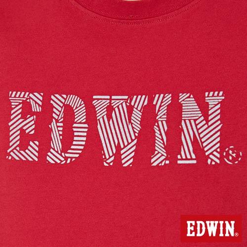 【網路限定款。9折優惠↘】EDWIN 幾何LOGO運動風 短袖T恤-男款 紅色【單筆899結帳輸入優惠券代碼ShoppingFestival-2。現折100元】 4
