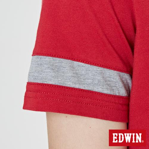 【網路限定款。9折優惠↘】EDWIN 幾何LOGO運動風 短袖T恤-男款 紅色【單筆899結帳輸入優惠券代碼ShoppingFestival-2。現折100元】 5