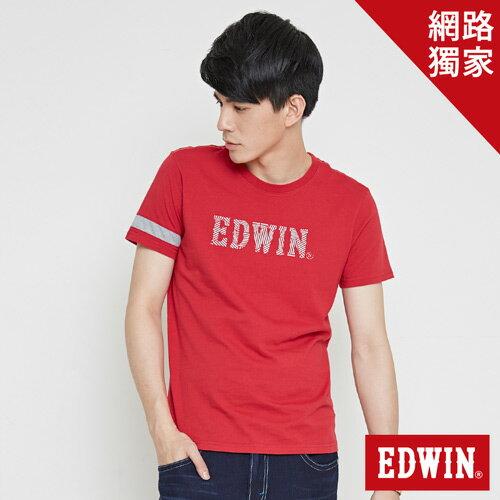 【網路限定款。9折優惠↘】EDWIN 幾何LOGO運動風 短袖T恤-男款 紅色【單筆899結帳輸入優惠券代碼ShoppingFestival-2。現折100元】 0