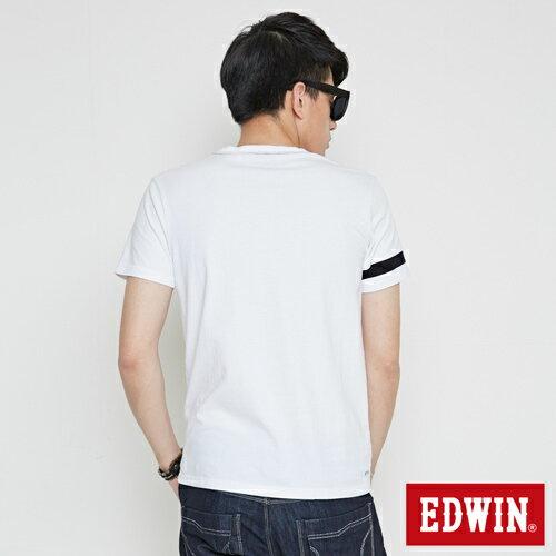 【網路限定款。9折優惠↘】EDWIN 幾何LOGO運動風 短袖T恤-男款 白色 1
