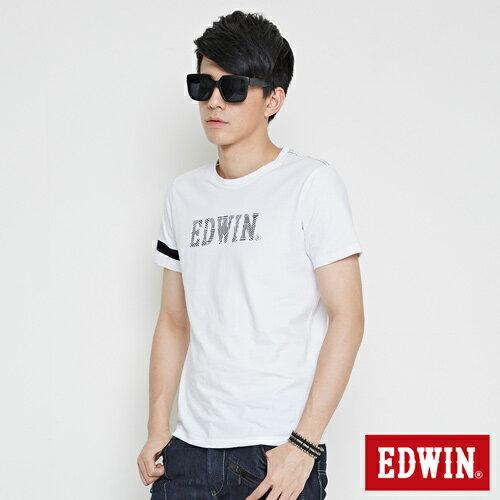 【網路限定款。9折優惠↘】EDWIN 幾何LOGO運動風 短袖T恤-男款 白色 2