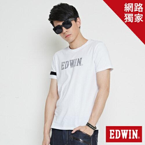 【網路限定款。9折優惠↘】EDWIN 幾何LOGO運動風 短袖T恤-男款 白色 0