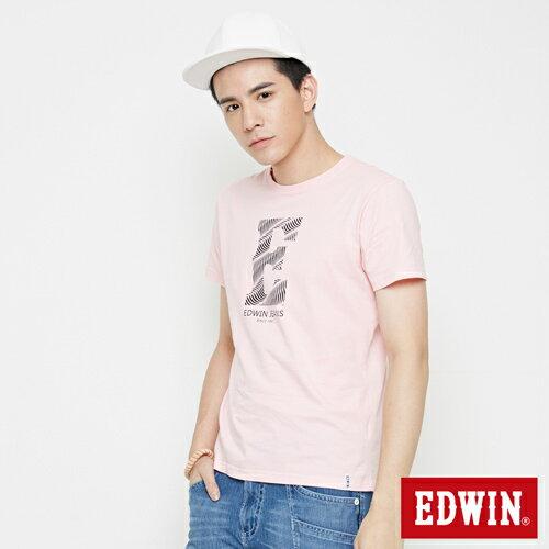 【網路限定款。9折優惠↘】EDWIN 海浪紋E字 短袖T恤-男款 淺粉紅 2