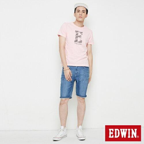【網路限定款。9折優惠↘】EDWIN 海浪紋E字 短袖T恤-男款 淺粉紅 3