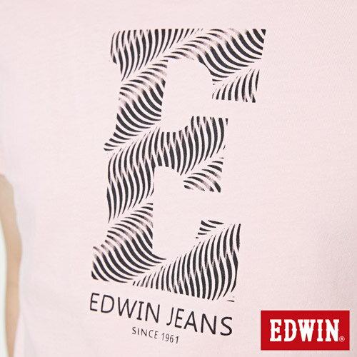 【網路限定款。9折優惠↘】EDWIN 海浪紋E字 短袖T恤-男款 淺粉紅 4