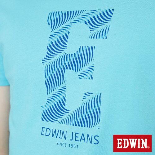 【網路限定款。9折優惠↘】EDWIN 海浪紋E字 短袖T恤-男款 水藍色【單筆899結帳輸入優惠券代碼ShoppingFestival-2。現折100元】 4