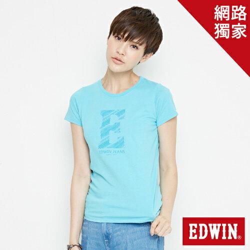 【網路限定款。9折優惠↘】EDWIN 海浪紋E字 短袖T恤-女款 水藍色【單筆2000結帳輸入優惠券代碼161028。現折240元】 0