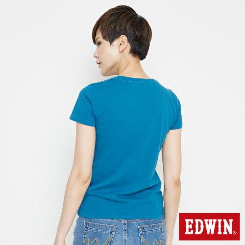 【網路限定款。9折優惠↘】EDWIN 海浪紋E字 短袖T恤-女款 灰藍色 1