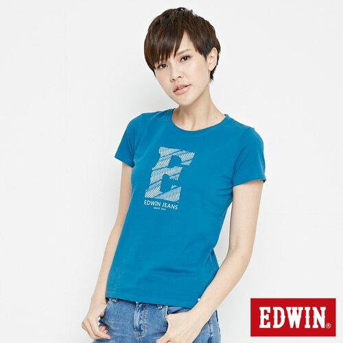 【網路限定款。9折優惠↘】EDWIN 海浪紋E字 短袖T恤-女款 灰藍色 2
