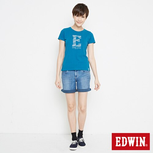 【網路限定款。9折優惠↘】EDWIN 海浪紋E字 短袖T恤-女款 灰藍色 3