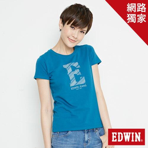 【網路限定款。9折優惠↘】EDWIN 海浪紋E字 短袖T恤-女款 灰藍色 0