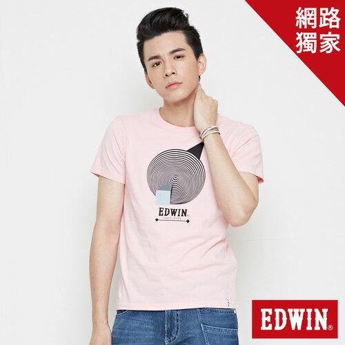 【網路限定款。9折優惠↘】EDWIN 3D幾何圓圖 短袖T恤-男款 淺粉紅【單筆2000結帳輸入優惠券代碼161028。現折240元】 0