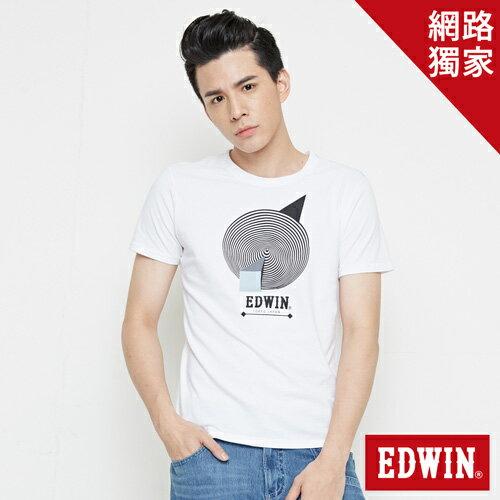 【網路限定款。9折優惠↘】EDWIN 3D幾何圓圖 短袖T恤-男款 白色【單筆2000結帳輸入優惠券代碼161027。現折240元】 0