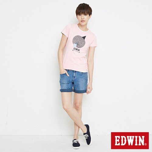 【網路限定款。9折優惠↘】EDWIN 3D幾何圓圖 短袖T恤-女款 淺粉紅 3
