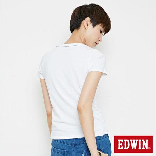 【網路限定款。9折優惠↘】EDWIN 3D幾何圓圖 短袖T恤-女款 白色 1