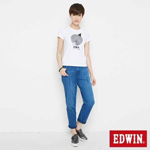 【網路限定款。9折優惠↘】EDWIN 3D幾何圓圖 短袖T恤-女款 白色【單筆899結帳輸入優惠券代碼ShoppingFestival-2。現折100元】 3