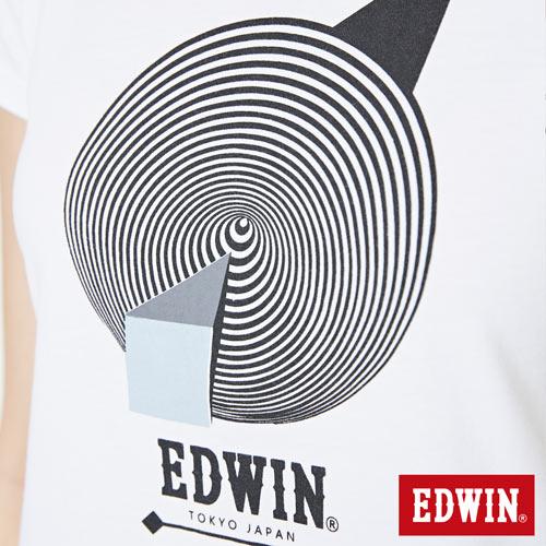【網路限定款。9折優惠↘】EDWIN 3D幾何圓圖 短袖T恤-女款 白色【單筆899結帳輸入優惠券代碼ShoppingFestival-2。現折100元】 4