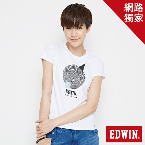 【網路限定款。9折優惠↘】EDWIN 3D幾何圓圖 短袖T恤-女款 白色【單筆899結帳輸入優惠券代碼ShoppingFestival-2。現折100元】 0