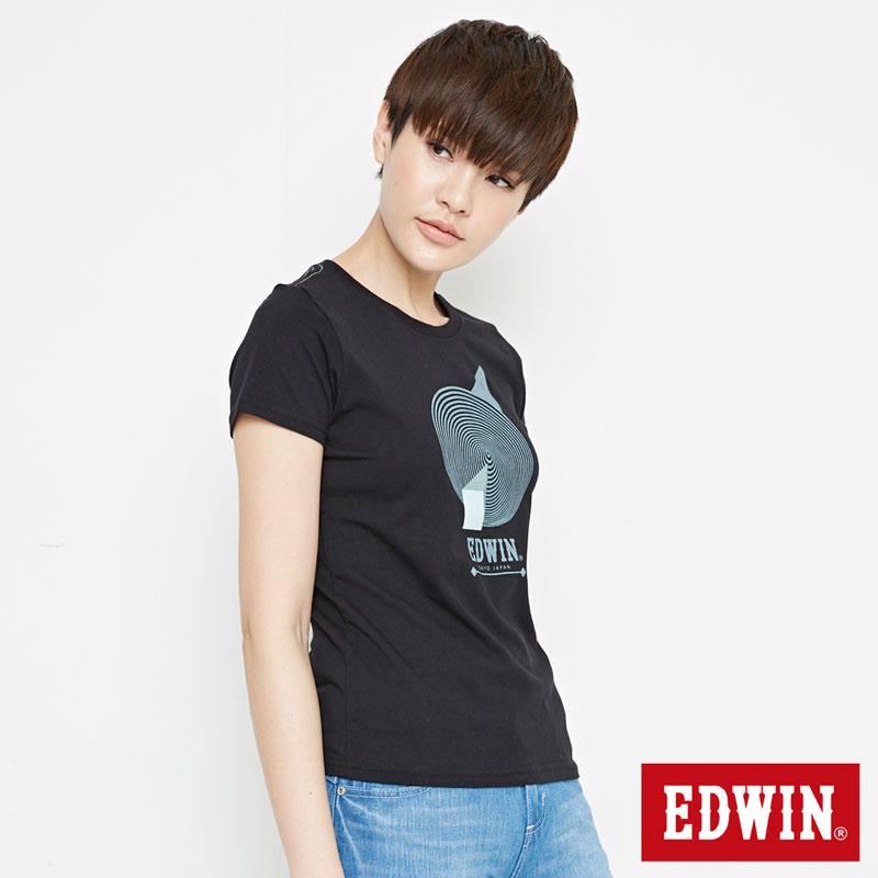 【網路限定款。9折優惠↘】EDWIN 3D幾何圓圖 短袖T恤-女款 黑色【單筆899結帳輸入優惠券代碼ShoppingFestival-2。現折100元】 2