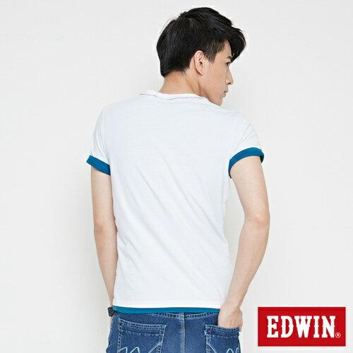 【網路限定款。9折優惠↘】EDWIN 條紋W LOGO 短袖T恤-男款 白色 1