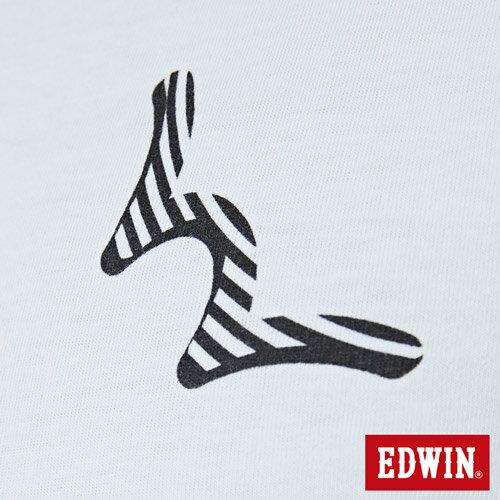 【網路限定款。9折優惠↘】EDWIN 條紋W LOGO 短袖T恤-男款 白色 4