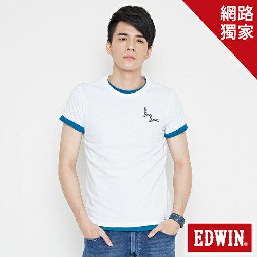 【網路限定款。9折優惠↘】EDWIN 條紋W LOGO 短袖T恤-男款 白色 0