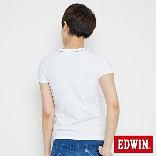【網路限定款。9折優惠↘】EDWIN 條紋W LOGO 短袖T恤-女款 白色【單筆2000結帳輸入優惠券代碼161028。現折240元】 1