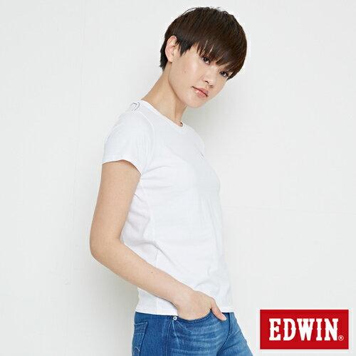 【網路限定款。9折優惠↘】EDWIN 條紋W LOGO 短袖T恤-女款 白色【單筆2000結帳輸入優惠券代碼161028。現折240元】 2