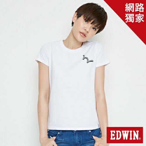 【網路限定款。9折優惠↘】EDWIN 條紋W LOGO 短袖T恤-女款 白色【單筆2000結帳輸入優惠券代碼161028。現折240元】 0